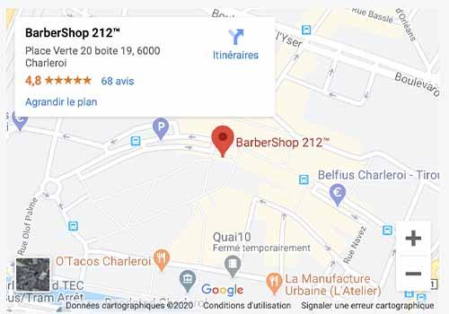 Map Barber Shop 212 Charleroi Salon de coiffure homme
